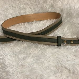 Vera Pelle Tan & Green Leather Belt
